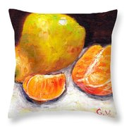 Yellow Pear With Tangerine Slices Grace Venditti Montreal Art Throw Pillow