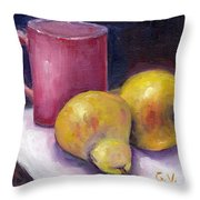 Yellow Pears And Mug Stll Life Grace Venditti  Throw Pillow