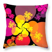 Yellow Pink Red Orbs Throw Pillow