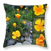 Yellow Poppies Collage  Throw Pillow