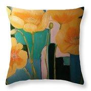 Yellow Poppies On Blue Throw Pillow