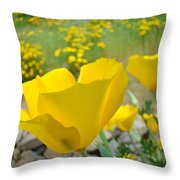 Yellow Poppy Flower Meadow Landscape Art Prints Baslee Troutman Throw Pillow