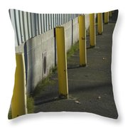 Yellow Posts Throw Pillow