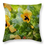 Yellow Pretty Little Flowers Throw Pillow