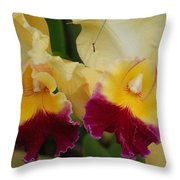 Yellow Purple Orchids Throw Pillow