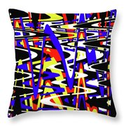 Yellow Red Blue Black And White Abstract Throw Pillow
