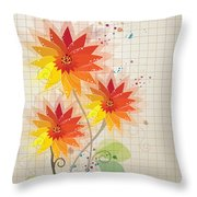 Yellow Red Floral Illustration Throw Pillow