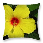 Yellow Red Hibiscus Throw Pillow