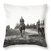 Yellow Riders On Horseback Near Arnhem Throw Pillow