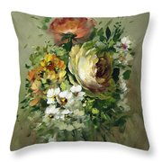 Yellow Rose And White Blossoms Throw Pillow