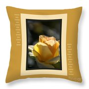 Yellow Rose Bud Dreams With Design Throw Pillow