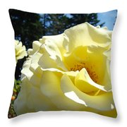 Yellow Rose Garden Landscape 3 Roses Art Prints Baslee Troutman Throw Pillow