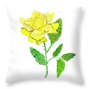Yellow Rose, Painting Throw Pillow