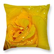 Yellow Rose With Droplets By Kaye Menner Throw Pillow