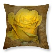 Yellow Rose With Old Notes Paper On The Background Throw Pillow