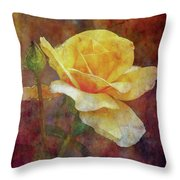 Yellow Rose With Raindrops 3590 Idp_2 Throw Pillow
