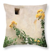 Yellow Roses And Tiny Window At Carmel Mission Throw Pillow