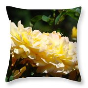 Yellow Roses Sunlit Rose Flowers 1 Rose Garden Giclee Artwork Baslee Troutman Throw Pillow