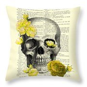 Skull With Yellow Roses Dictionary Art Print Throw Pillow
