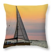 Yellow Sailboat At Sunrise Throw Pillow