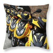 Yellow Scooters Throw Pillow
