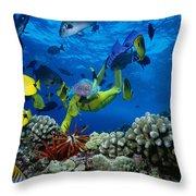 Yellow Scuba Diver Throw Pillow