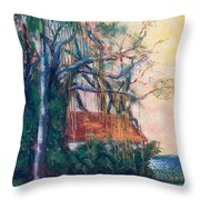 Yellow Sky At Edison Winter Estate Throw Pillow