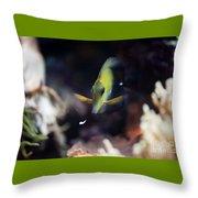 Yellow Spotted Aquarium Fish Throw Pillow