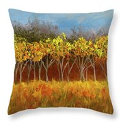 Yellow Stand Of Trees Throw Pillow