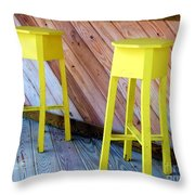 Yellow Stools Throw Pillow