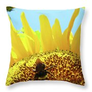 Yellow Sunflower Art Prints Bumble Bee Baslee Troutman Throw Pillow