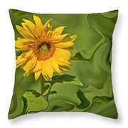 Yellow Sunflower On Green Background Throw Pillow