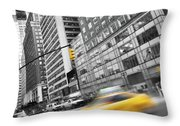Yellow Taxi Nyc Throw Pillow