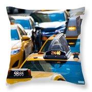 Yellow Taxis Throw Pillow