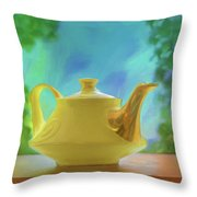 Yellow Teapot And Bowl Throw Pillow