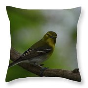 Yellow-throated Vireo On Branch Throw Pillow