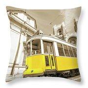 yellow tram Lisbon Throw Pillow