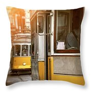 Yellow Trams Of Lisbon Portugal  Throw Pillow