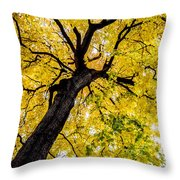 Yellow Tree Throw Pillow