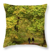 Yellow Trees In Fall Throw Pillow