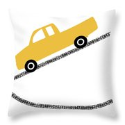 Yellow Truck On Road- Art By Linda Woods Throw Pillow