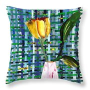 Yellow Tulip In A Pink Vase Throw Pillow