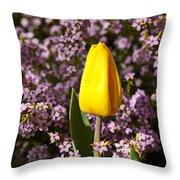Yellow Tulip In The Garden Throw Pillow
