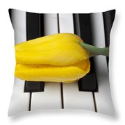 Yellow Tulip On Piano Keys Throw Pillow by Garry Gay
