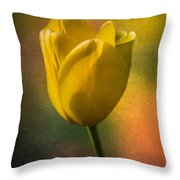 Yellow Tulip Textures Of Spring Throw Pillow