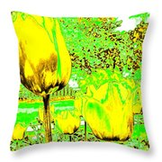 Yellow Tulips Abstract Throw Pillow
