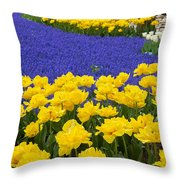 Yellow Tulips And Blue Muscari In Dutch Garden Throw Pillow