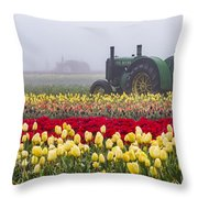 Yellow Tulips And Tractors Throw Pillow