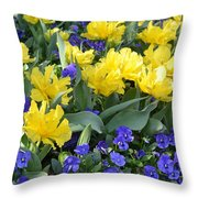 Yellow Tulips And Violets Throw Pillow