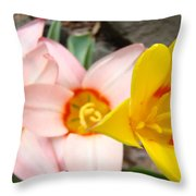 Yellow Tulips Art Prints Pink Tulips Spring Florals Baslee Troutman Throw Pillow
